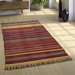 Designer Teppich Webteppich Kelim Handgewebt 100% Baumwolle Modern Gestreift Bunt