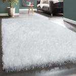Shaggy Hochflor Teppich Kuschelig Glanzfasern Glitzer Modern In Uni Weiß