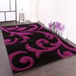Designer Teppich Festival mit Konturenschnitt Muster Lila Schwarz Violet