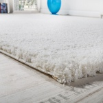 Shaggy Teppich Micro Polyester Wohnzimmer Elegant Strapazierfähig Hochflor Creme