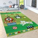 Kinderteppich Spielteppich Süße Zirkus Tiere Tiger Löwe Affe Verspielt In Grün Bunt