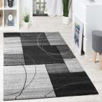 Designer Teppich Hochwertig Modern Kariert Kreislinien Anthrazit Creme Grau