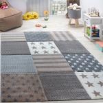 Kinderteppich Sterne Muster Kurzflor Konturenschnitt Karo Design Beige Creme