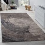 Edler Designer Teppich Hochtief-Effekt Kurzflor Relief Optik Beige Grau Meliert