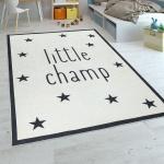 Kinderteppich Kinderzimmer Jungen Babyteppich Waschbar Spruch Stern Schwarz Weiß