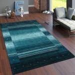 Teppich Handgewebt Gabbeh Hochwertig 100% Wolle Meliert Bordüre Grün Grau