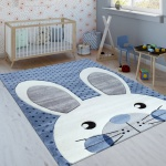 Kinderteppich Indigo Blau Trend Modern Niedlicher Hase Gepunktet 3D Kurzflor