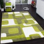 Designer Teppich Trendiger Retro Teppich Kurzflor Webteppich in Grün Grau Creme