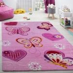 Kinderzimmer Teppich Kinderteppich Schmetterling Motive Mit Konturenschnitt Pink