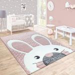 Kinderteppich Kinderzimmer Konturenschnitt Niedlicher Hase In Creme Rosa