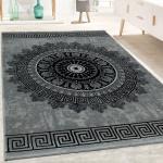 Designer Teppich Wohnzimmer Mandala Muster Kurzflor Barock Stil In Grau Schwarz