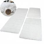 Bettumrandung 3 teilig Hochflor Shaggy Super Langflor Teppich Läufer Schnee Weiß