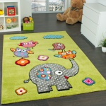 Kinderzimmer Teppich Niedliche Bunte Tierwelt Eule Elefant in Grün Blau Grau Rot