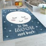 Kinderteppich Kinderzimmer Mädchen Waschbar Sterne Niedlicher Mond Spruch Blau