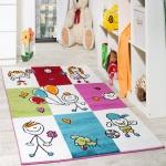 Teppich Kinderzimmer Fröhliche Kids in Karo Muster Mehrfarbig Creme Türkis Rot