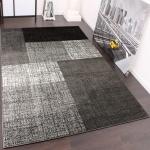 Designer Teppich Kurzflor Karo Muster Schwarz Grau Meliert