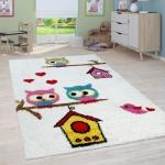 Kinderzimmer Shaggy Teppich Eulen Kinder Teppich Hochflor in Creme Mehrfarbig