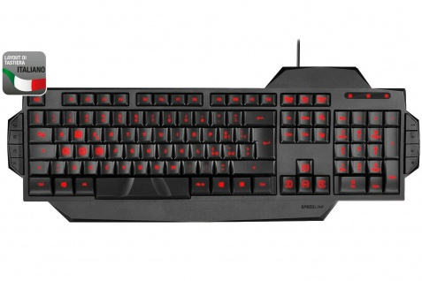 Speedlink USB LED Gaming Tastatur Italien IT Italienisch QWERTY Keyboard-Layout