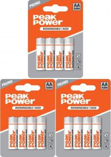GP Batteries Peak Power 12x AA-Akku 2050mAh 1, 2V Mignon HR6 Batterie AA Akkus