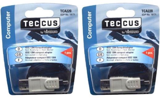 2x Vivanco Firewire Adapter 6-4 IEEE-1394 6 Pol Buchse Kupplung 4 polig Stecker