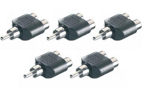5x Vivanco Audio Cinch Y-Adapter Verteiler 1 Cinch-Stecker - 2 Chinch-Buchse RCA