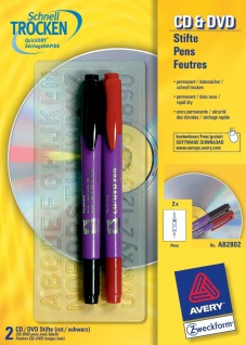 Avery Zweckform 2x CD DVD Stift fein/breit Permanent Marker Stifte Blu-Ray Folie