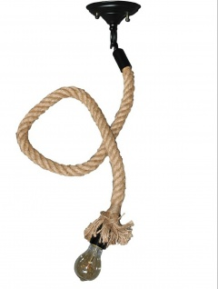 Seil-Pendelleuchte Rope Hängeleuchte Tau Knoten Hängelampe E27 Fassung Vintage