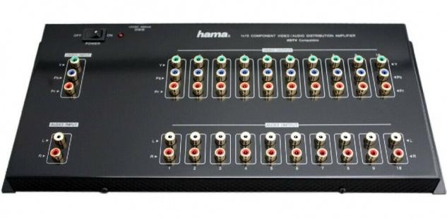 Hama AV Verteil-Verstärker YUV RGB Component Verteiler Switch HD-TV Audio Cinch