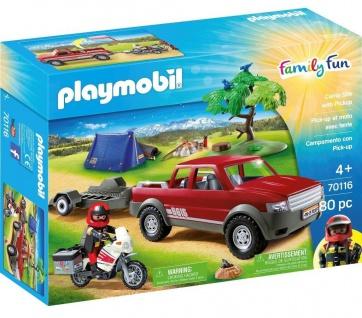 Playmobil Abenteuer Pick-up 70116 Motorrad Fahrzeug Camping-Ausflug Family Fun