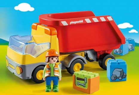 Playmobil 70126 Kipplaster mit Baustellenarbeiter und Steinblöcken Spielzeug-Set