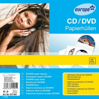 Avery Zweckform 100x Papierhüllen CD-Hüllen Sleeves CD DVD Blu-Ray Sichtfenster