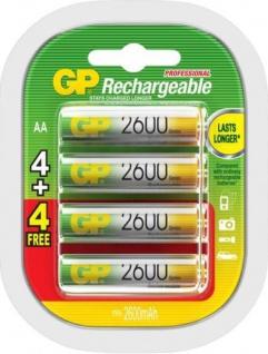 GP Premium Pack 8x AA-Akku 2600mAh Ni-MH Wiederaufladbar Mignon Batterie AA Akku
