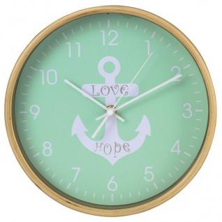 Hama Design Wanduhr HG-260 geräuscharm Anker Holz Retro Style Wand Uhr Grün 26cm