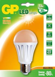 GP LED Birne E27 7, 3W/39W Extra Warmweiß 2200K LED-Lampe Glühbirne Leuchtmittel