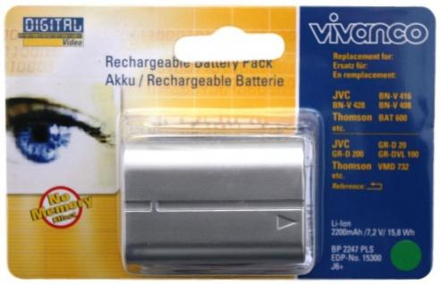 Vivanco Li-Ion Akku für JVC Camcorder BN-V428 BN-V428U BN-V416 Thomson BAT-600