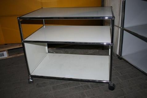 USM Haller Drucker-Wagen Fax Regal Sideboard auf Rollen 2 Fächer weiß Ablage - Vorschau 3