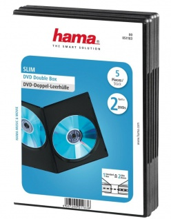 Hama 5x Slim DVD-Hülle 2 DVDs 2er 2-Fach Leer-Hüllen Box CD DVD Blu-Ray Disc