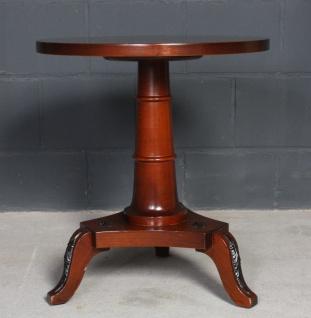 Antiker runder 60x60 Holz Beistell-Tisch Sofa Couch Biedermeier-Stil Mittelfuss