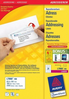 Avery Zweckform L7960 2100x Adress-Etiketten A4 Drucker C6 Brief Adressaufkleber