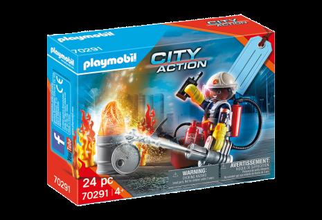 """Playmobil 70291 Geschenkset """" Feuerwehr"""" Feuerwehrmann mit Löschkanone Ausrüstung"""