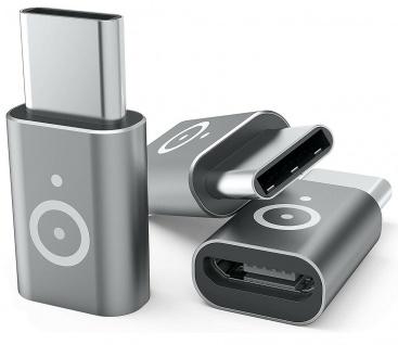 Pazzimo 3x Adapter micro-USB auf USB-C 3.1 Typ C zu Mikro-USB Wandler Konverter