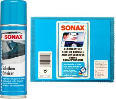 Sonax Winter-Paket Scheiben-Enteiser 300ml Spray + Klarsicht-Tuch Kfz PKW Auto