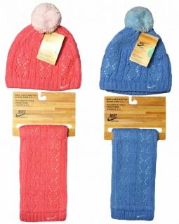 Nike Kinder Mütze Schal 3-7 Jahre blau/pink Jungen Mädchen Winter Kinderschal