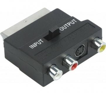 Schwaiger TV AV-Adapter IN/OUT schaltbar Scart / 3x Cinch / S-Video Chinch RGB