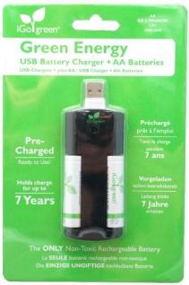 iGo Green Energy USB Akku-Ladegerät + 2x AA-Akku Akkus Stecker-Ladegerät Lader