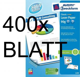 400 Blatt Avery Zweckform Colour-Laser Papier weiß A4 90g matt Satin Finish Copy