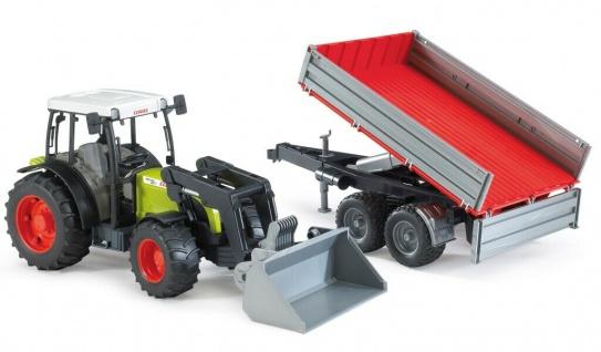 Bruder Claas Nectis 267-F Traktor mit Frontlader und Bordwand-Anhänger 02112
