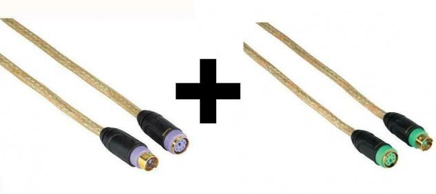 2er Set PS/2-Verlängerung Tastatur/Maus PS2 Verlängerungs-Kabel Mini-Din Gold