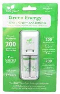 iGo Set Green Energy Akku-Ladegerät + 2x AA-Akku Akkus Stecker-Ladegerät Lader