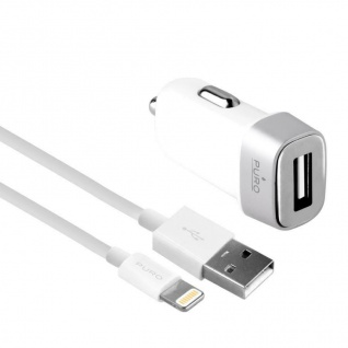 Car Fast-Charger Compact Kfz-Adapter White USB-Lightning-Kabel